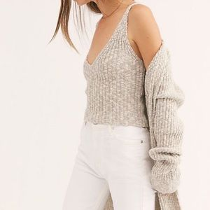 FREE PEOPLE ribbed knit sweater cami deep v crop
